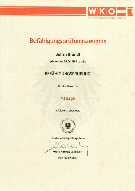 Juian Brandl: Befähigungsprüfung Massage