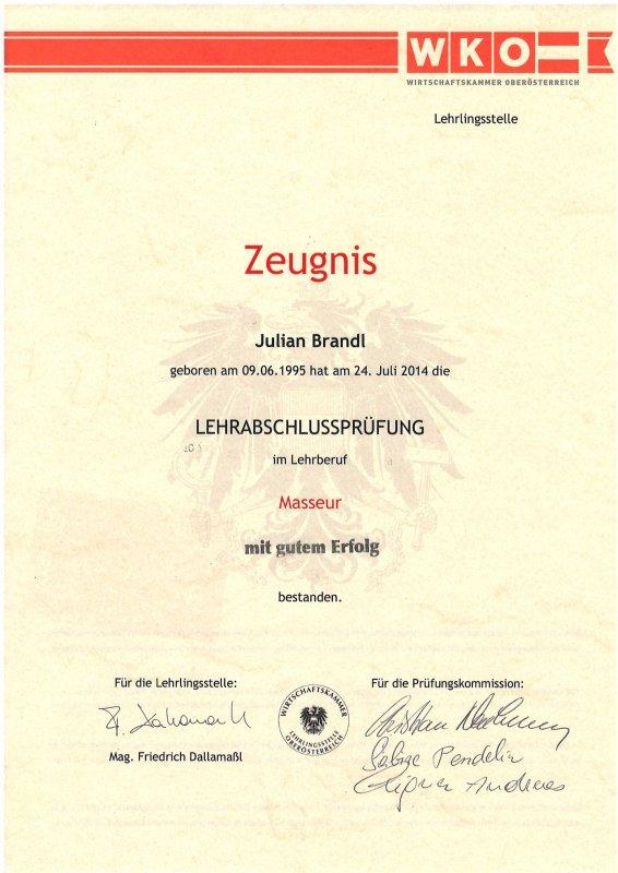 Juian Brandl: Lehrabschlußprüfung