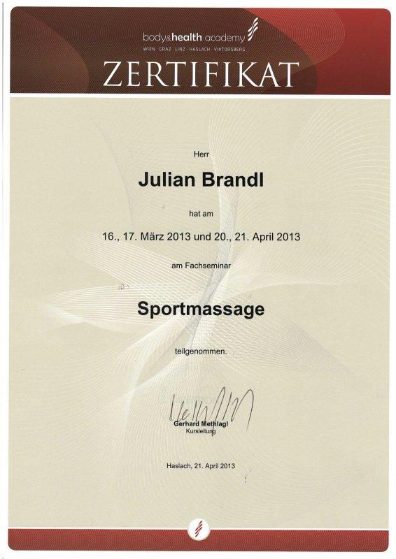 Juian Brandl: Sportmassage